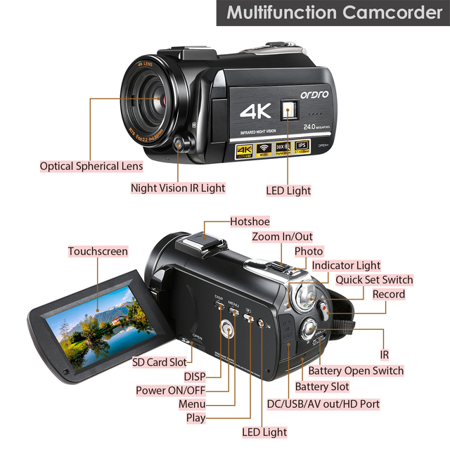 3.1inch Screen Digital Camera Professional Night-vision Recording Used As PC Cam Camcorder Ultra HD 4K Video Camera Anti-shake 6