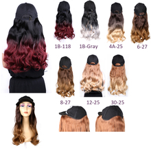 1pcs 7colors Adjustablewomen Hats Long Straight Hair Extensions With Black Cap Wig All-in-one Woman Baseball Cap Mannequin Wig
