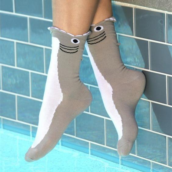 Women Female Animal Flamingo Mermaid  Socks USA Size 5-10,Europe Size 35-42 (Non Cotton)