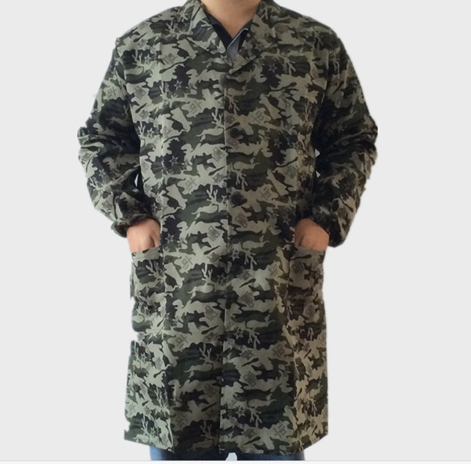Camouflage Double Color Large Size Dirt Wear Handling Coat Long Unlined Long Gown Open Front Button Work Clothes