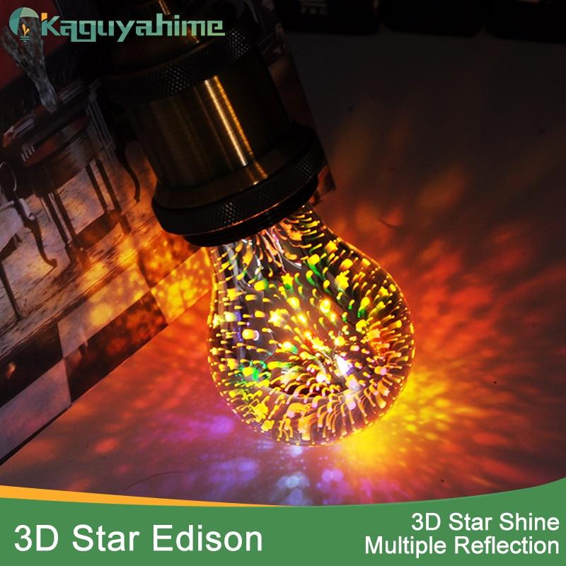 Kaguyahime Edison E27 Retro LED Bulb 220V 3D Fireworks Lamp E27 Edison LED Filament Light Lampara ST64/G95/A60 Bulb Edison