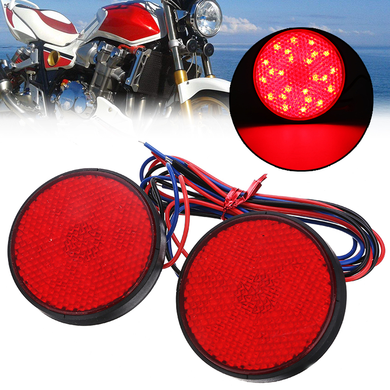 2PCS/SET Red 24 SMD LED Round Motorcycle Tail Light Universal 12V Mini Motorbike Reflector  Turn Signal Brake Stop Lamp