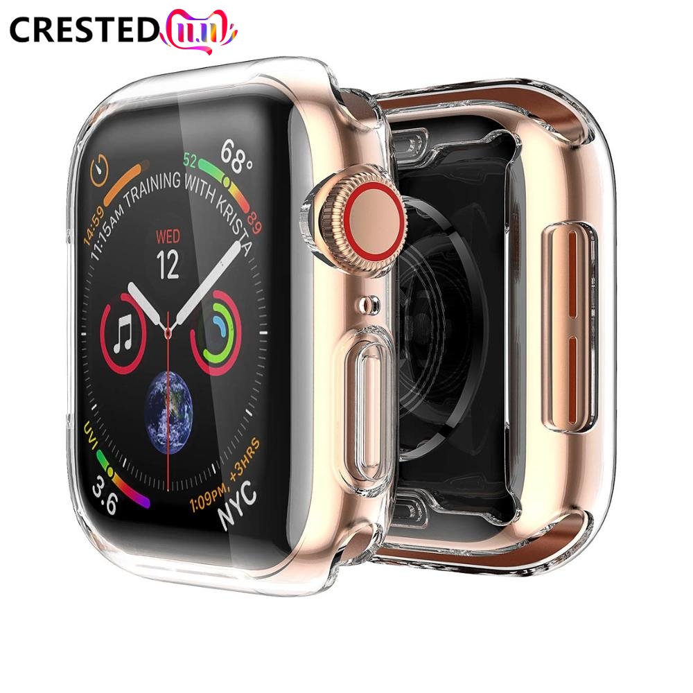 Soft Cover Case For Apple Watch Band Apple Watch 5 4 3 Case 44mm 40mm/42mm/38mm Iwatch Band All-around Ultra-thin Clear Frame