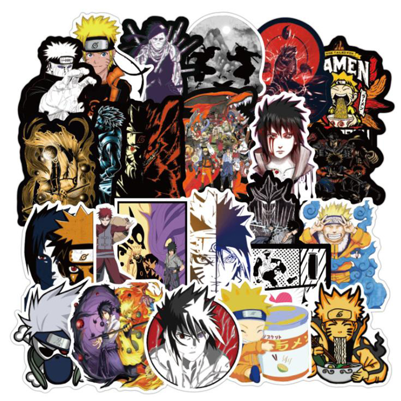50PCS No Repeating NARUTO Stickers For Skateboard Fridge Phone Guitar Motorcycle Luggage PVC Waterproof Decal Toy Funny Stickers