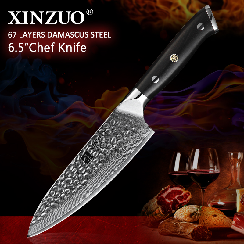 XINZUO 6.5 Chef Knives Japanese VG10 Damascus Steel Sushi Chef Knife Kitchen Cutting Vegetables Cook Knives Ebony Handle image