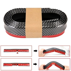 Lip on Bumper Rubber Band For Universal Car Front Soft Accessories Carbon Fiber 55mm Width 2.5m length Strip Auto Outside