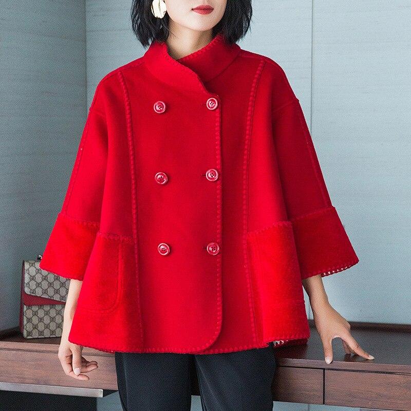 Spring Autumn Coat Women Clothes 2020 Korean Vintage Streetwear Wool Jacket Double-sided Women Tops Abrigo Mujer F15a ZT3317