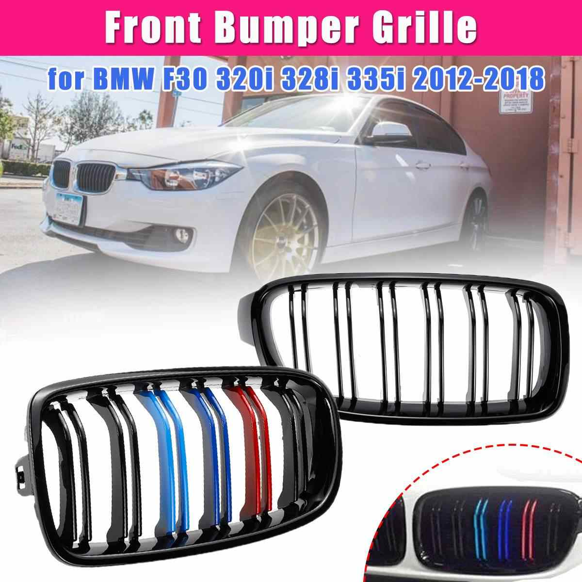 1Pair Black/M-Color Car Racing Grills Front Kidney Grilles For for BMW F30 320i 328i 335i 2012-2018 Auto Accessories