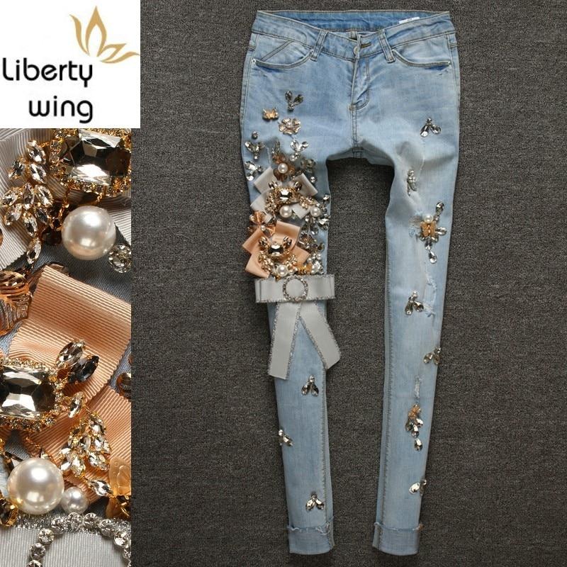 Европейские Новые Роскошные джинсы со стразами, женские рваные джинсовые брюки с кисточками, светло голубые Стрейчевые узкие брюки, больши