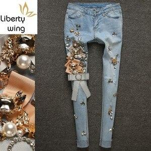 Европейские Новые Роскошные джинсы со стразами, женские рваные джинсовые брюки с кисточками, светло-голубые Стрейчевые узкие брюки, больши...