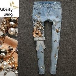European New Luxury Diamond Rhinestone Jeans Women Ripped Tassel Denim Trousers Light Blue Stretch Pencil Pants Plus Size 25-30