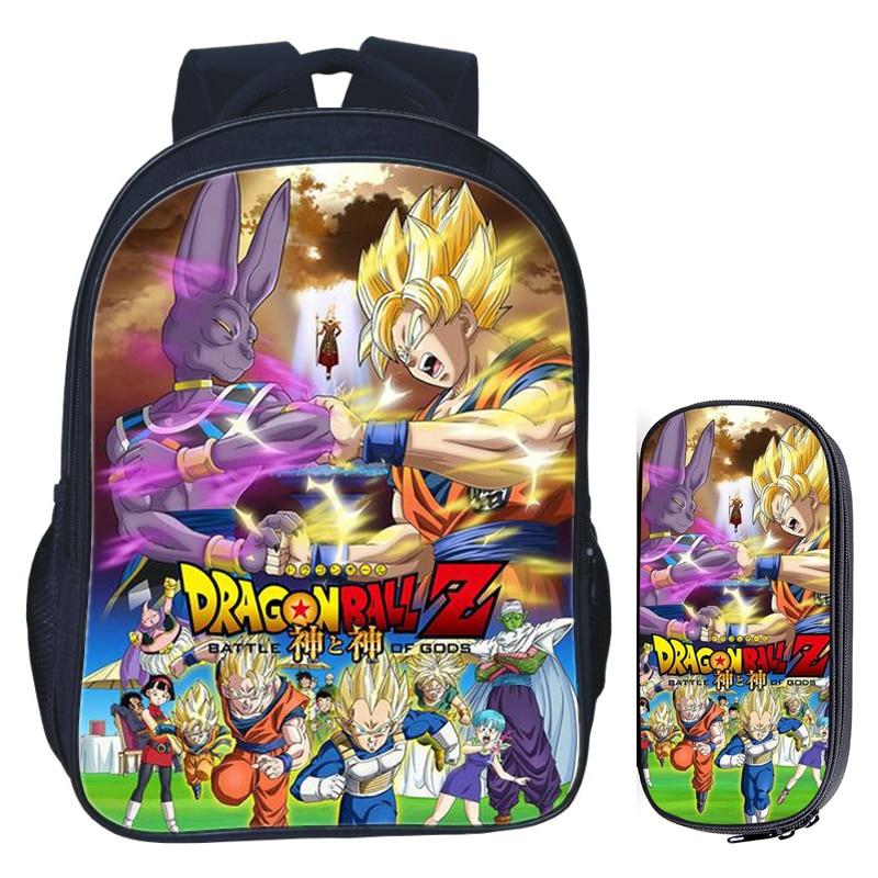 16 Inch Dragon Ball Z Sun Goku School Bag For Kids Girls Boys Backpack Children School Sets Pencil Bag Toddler Schoolbag