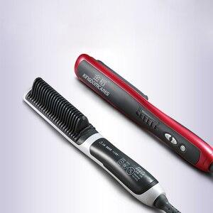 PTC Heating Electric Anti static Ceramic Fast hot Ionic Hair Straightening Styling Tool Irons Brush Combs Hair Straightener(China)
