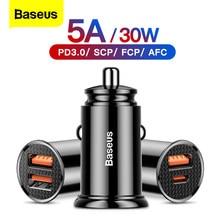 Baseus – chargeur de voiture USB type-c Quick Charge 4.0/3.0, QC 3.0, SCP 5a, pour iPhone 12, Xiaomi mi 9, 8, Huawei P30 Pro