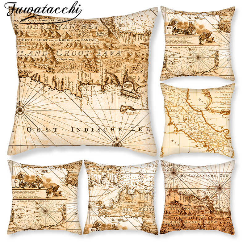 Fuwatacchi ナビゲーション枕世界地図クッションカバーコンパススロー枕寝室用ソファの家の装飾枕カバー
