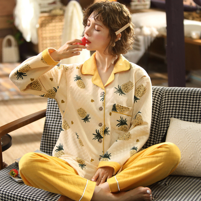 JULY'S SONG Women 2 Pieces Pajamas Set Cotton Cute Plus Printing Soft Breastfeeding Long Sleeve Spring Autumn Animal Sleepwear