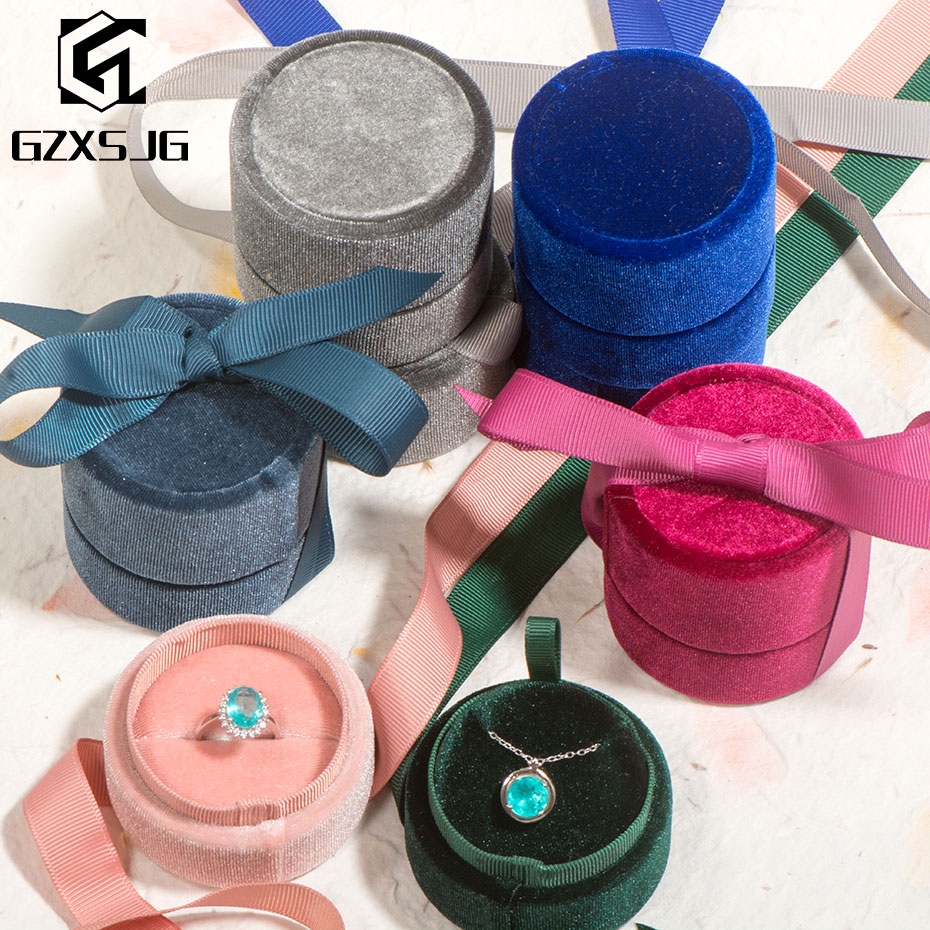 GZXSJG 10PCS/LOT Wholesale Round Velvet Jewelry Boxes For Wedding Pink Green Blue Grey Ring Necklace Box For Wedding Engagement