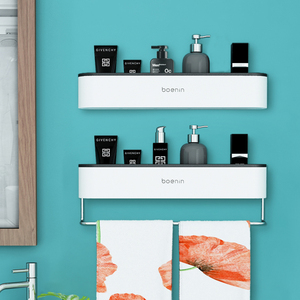 Image 2 - マウントバスルームオーガナイザー棚シャンプー化粧品収納ラックバスキッチンタオルホルダー家庭用品浴室アクセサリー