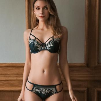 Transparent Bra Set Women Unlined Emboridery Floral Pattern Strappy Panties Lingerie Summer