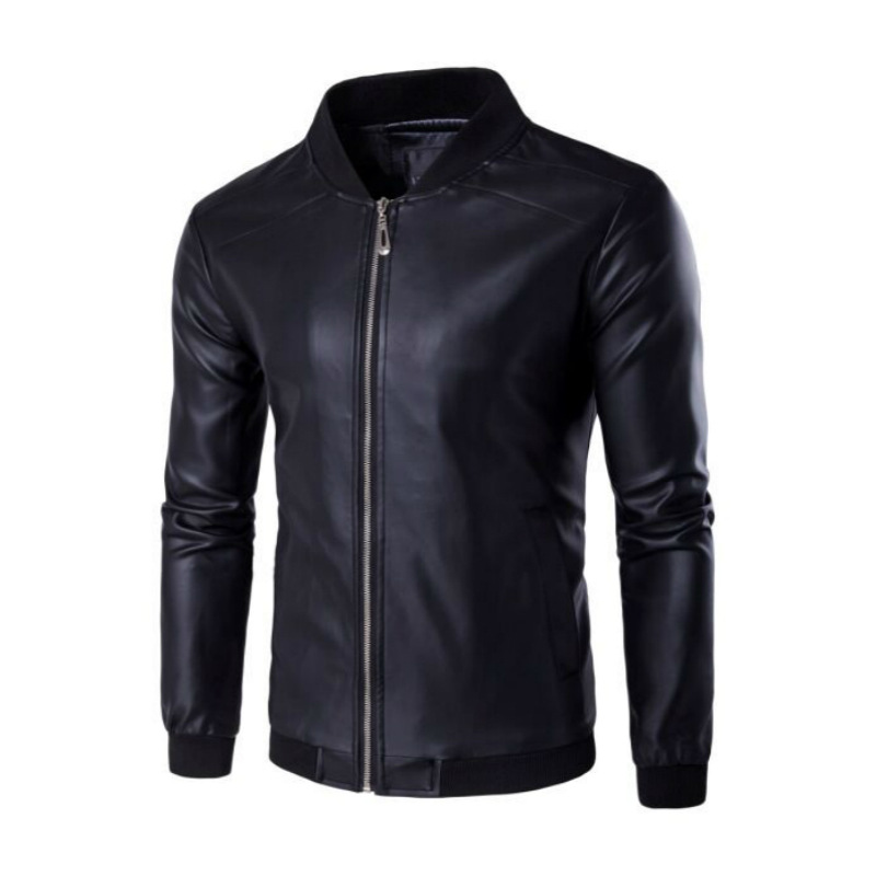 Spring And Autumn Men Baseball Collar Solid Color Casual Locomotive Leather Jacket Youth Versatile Leather Jacket Men's