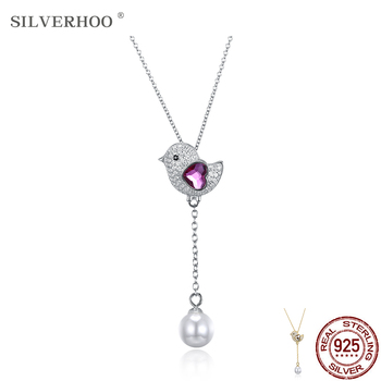 SILVERHOO Cute Bird 925 Sterling Silver Heart Austria Crystal Pendant Necklace Shell Pearl Double Pendant New Arrivals Jewelry