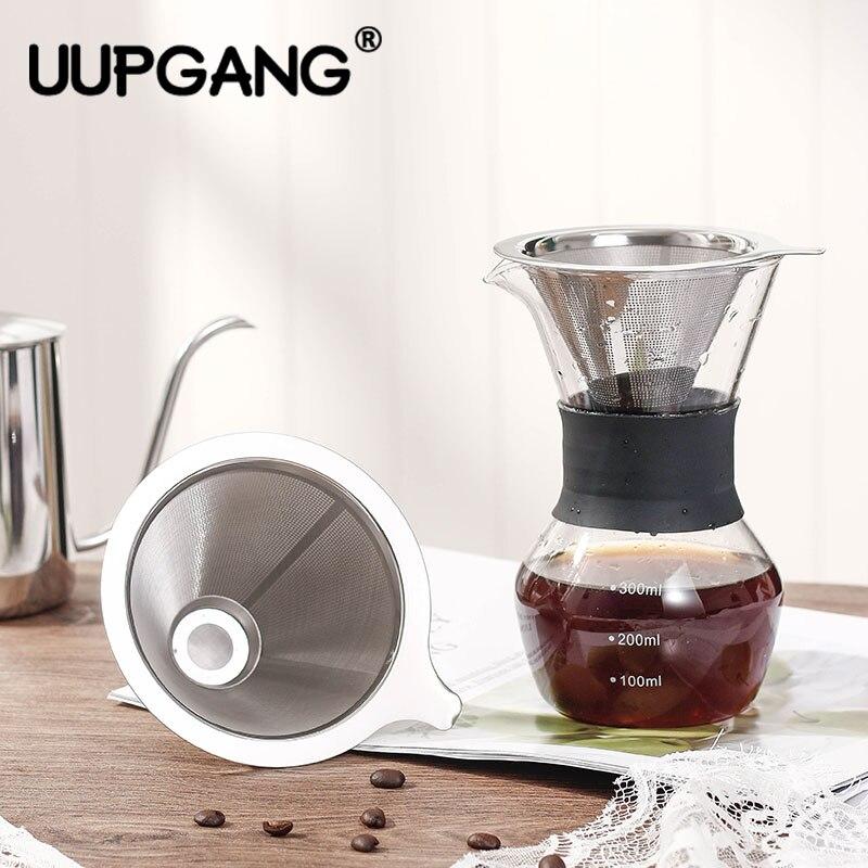 Filtre à café réutilisable conteneur en acier inoxydable Double couche en métal maille entonnoir Drif verser sur les outils de panier de goutteur de café de thé