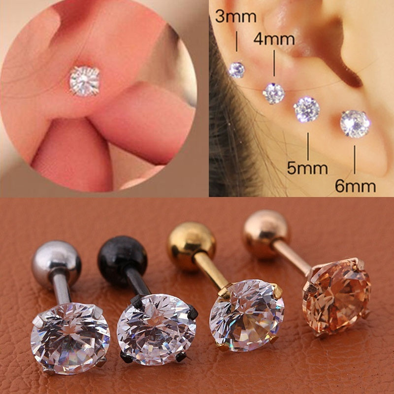 1pc/lot Size 3/4/5/6mm 4 Colors Punk Medical Stainless Titanium Steel Needle Zircon Crystal Stud Earrings For Men Women Party