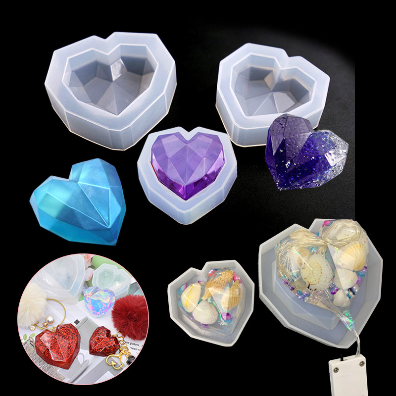 New 1PC Heart Shaped Jewelry Tool Jewelry Mold UV Epoxy Resin Silicone Molds For Making Jewelry