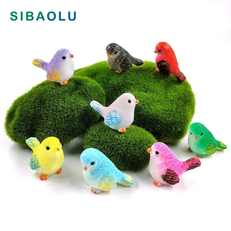 8pcs Artificial Little Parrot Bird Figurine Animal Model Home Decor Miniature Fairy Garden Decoration Accessories Modern Statue