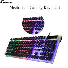 цена на Gaming Keyboard USB Glowing Computer Wired Keyboard Creative Round Key Keyboard pc Gaming Mechanical Keyboard For PC Laptop