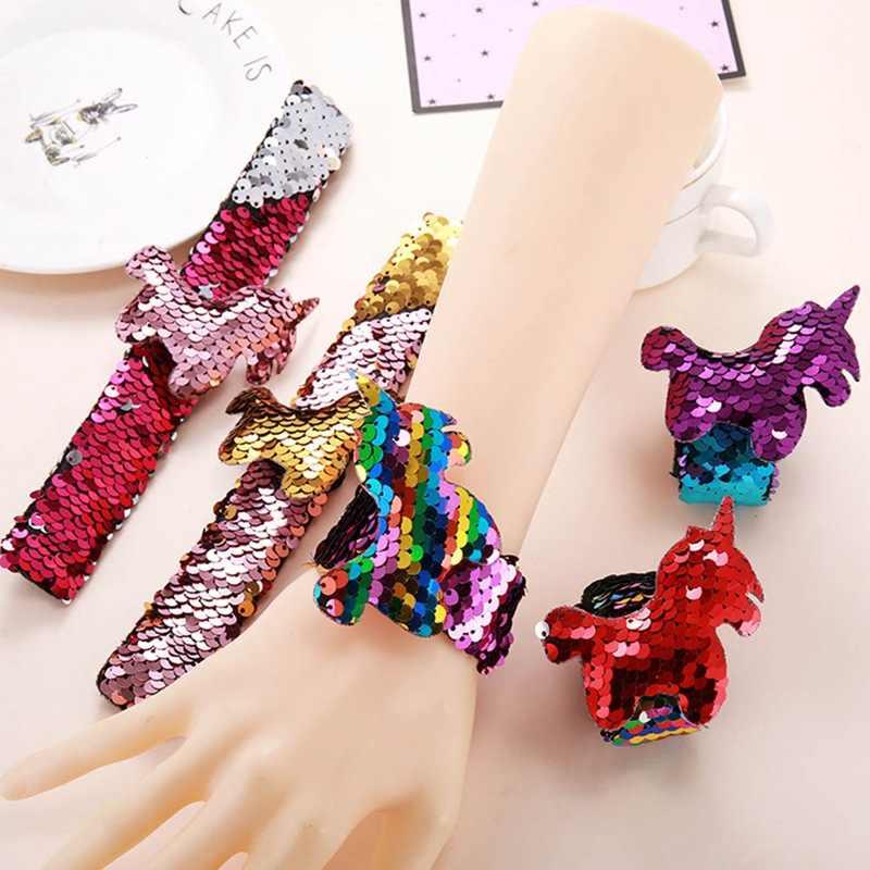 1 個ユニコーンスラップ自動ブレスレットフラミンゴグリッタースパンコールマーメイドパーティー好意女の子誕生日結婚パーティーおもちゃキッズギフト