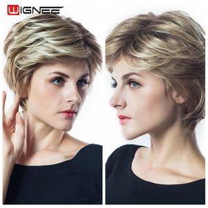 Wignee короткие волосы синтетические парики для черных/белых женщин смешанные коричневые/серые прямые волосы косплей африканские Короткие повседневные/вечерние парики