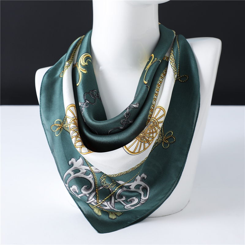 Carriage Chain Pattern Young Lady Of Note Silk Scarf High Quality Luxury Brand Designer Shawls Women Small Bandana Neck Scarves