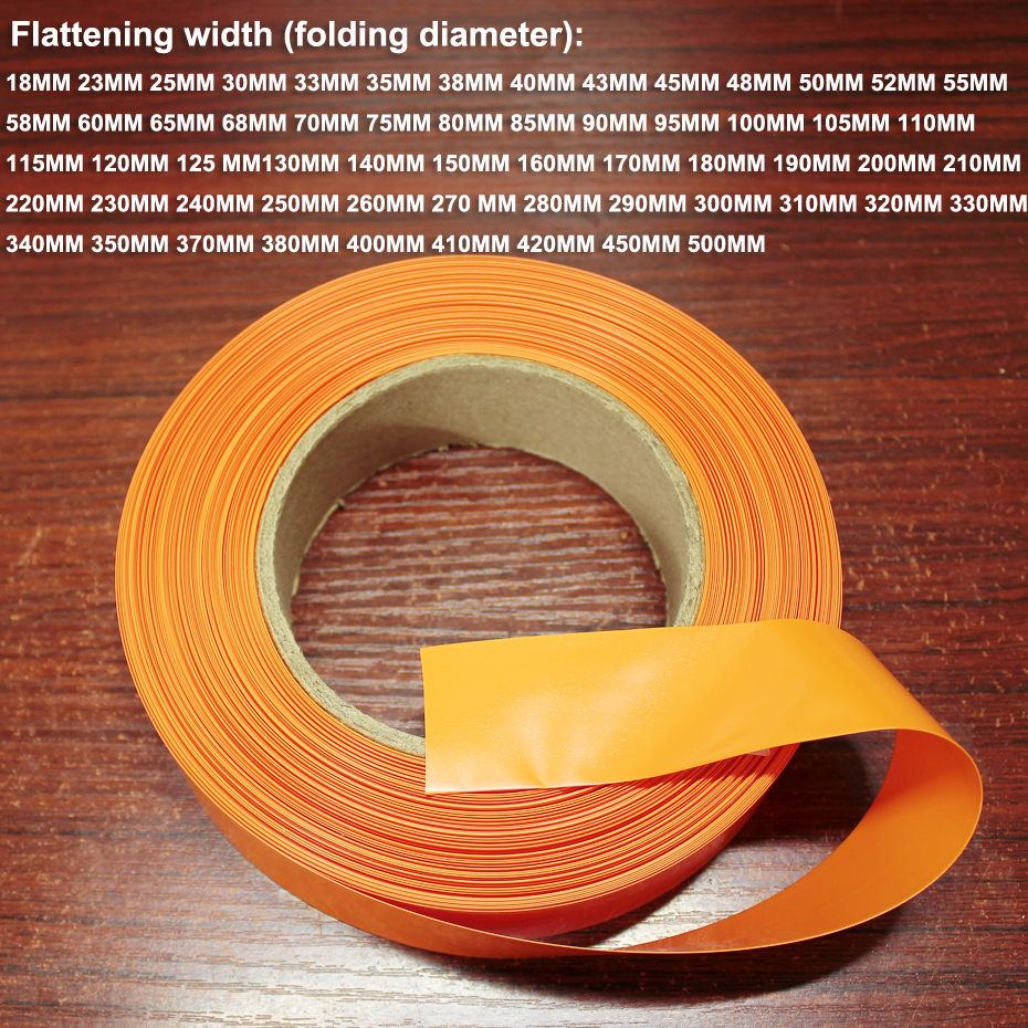 1kg 18650 lithium <font><b>battery</b></font> PVC heat shrinkable film tube <font><b>21700</b></font> <font><b>battery</b></font> skin shrink packaging <font><b>sleeve</b></font> orange 200MM wide image