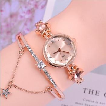 цена на Luxury Women Watches Fashion Starry Sky Rhinestones Quartz Wrist Watch Dress Alloy Chain Ore Glass Dial Roman Bracelet Clock