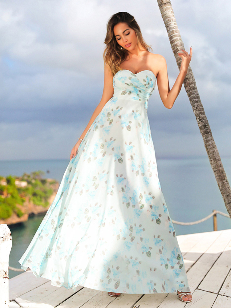 Party-Gowns Evening-Dresses Robe-De-Soiree Ever Pretty Floral-Print Chiffon Elegant Formal