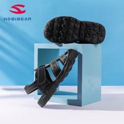 HOBIBEAR buty na plażę sandały dla dzieci skórzane buty na co dzień letnie chłopcy but skórzany GTU016 w Sandały od Matka i dzieci na