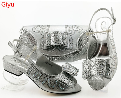 Doershow Italian Silver Shoes With Matching Bags 2019 African Shoe And Bag Set Nice Gold Design African Shoes And Bag Set!HBZ1-6