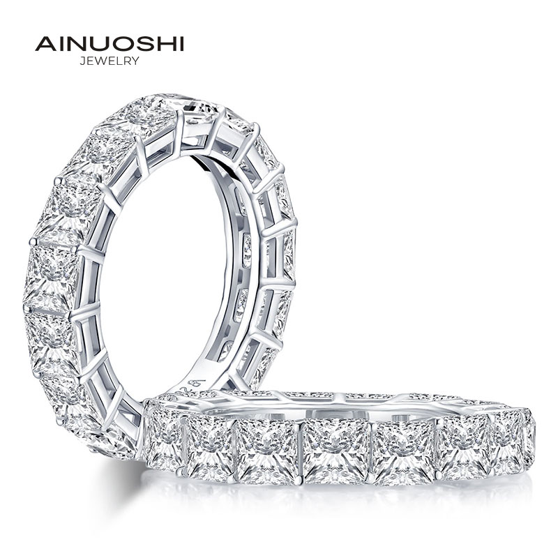 AINUOSHI 925 en argent Sterling 4mm princesse coupe pleine éternité bague pour les femmes Sona simulé diamant fiançailles bague de mariage
