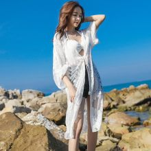 Zomer Sexy Kant Gehaakte Strand Jurk Vrouwen Wit See Through Badmode Badpak Cover Up Mbroidery Strand Dressun(China)