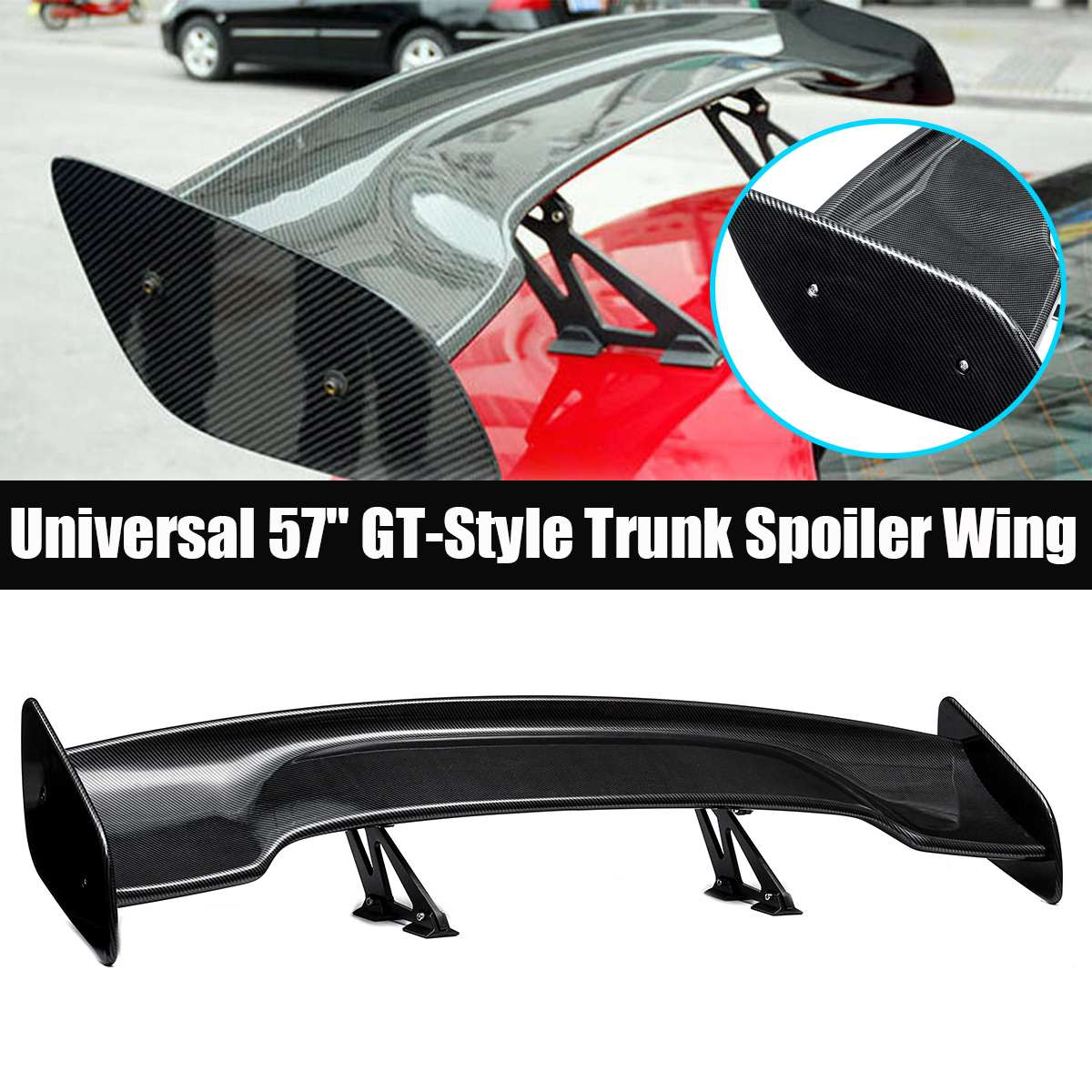 Universal Car Tail Rear Trunk <font><b>Spoiler</b></font> 145cm Carbon Fiber Style <font><b>GT</b></font> Wing for <font><b>BMW</b></font> for Mazda for Hyundai for Audi Car styling image