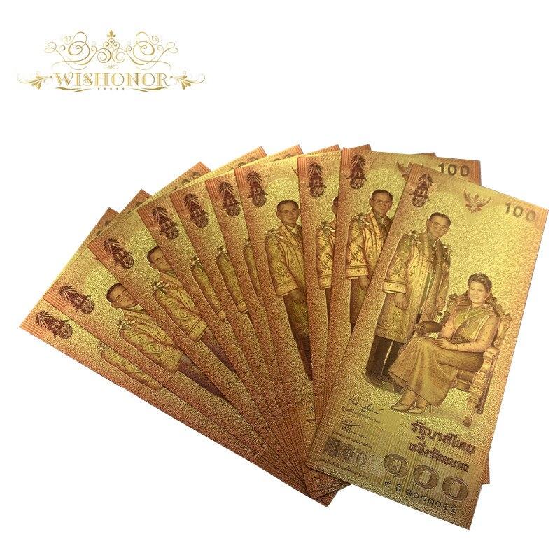 10 pçs/lote novo design tailândia notas 100 baht notas em 24k banhado a ouro papel de impressão dinheiro para a coleção