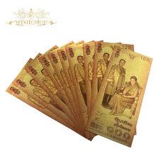 Billete de 100 Baht en oro de 24k, 10 unidades por lote, nuevo diseño de Tailandia, papel de impresión, dinero para colección