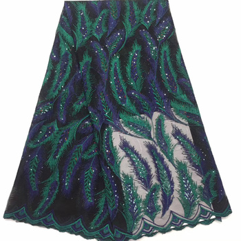 (5yards/pc) Beautiful black and navy blue green embroidered African French net lace fabric with sequins for party dress FZZ708