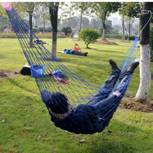 Outdoor Nylon Mesh Net Hammock Swing Chair Garden Furniture Hanging Sleeping Bed Portable Camping Hamacas Blue Green Red Hamac red nylon hammock hanging mesh net sleeping bed swing outdoor camping travel