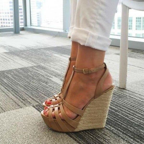 Hot Selling Women Sandals Shoes Khaki Wedge Sandals T Strap Peep Toe Platform Shoes Sandals Size 34-45