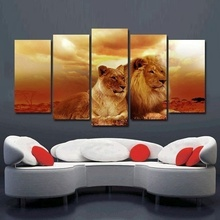 No Frame 5 Panels Safari Lions In Sunset Split Wall Art Poster Canvas Painting Animal Print Giclee Pictures For Home Decor