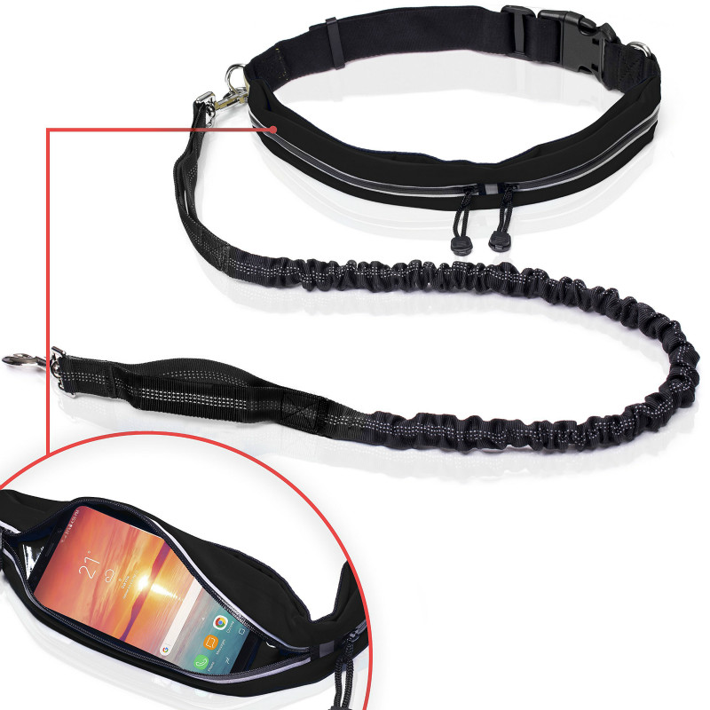 Retractable Dog Leash Hands Free with W Smartphone Pouch Reflective Adjustable Waist Belt for Running Walking Hiking Waterproof in Leashes from Home Garden
