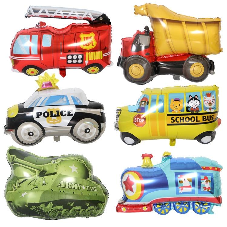 1pc Car Foil Balloon Hat Cute Tank Train School Bus Ambulance Police Helium Balloon Boy Girl Gift Birthday Party Decor Kids Toy