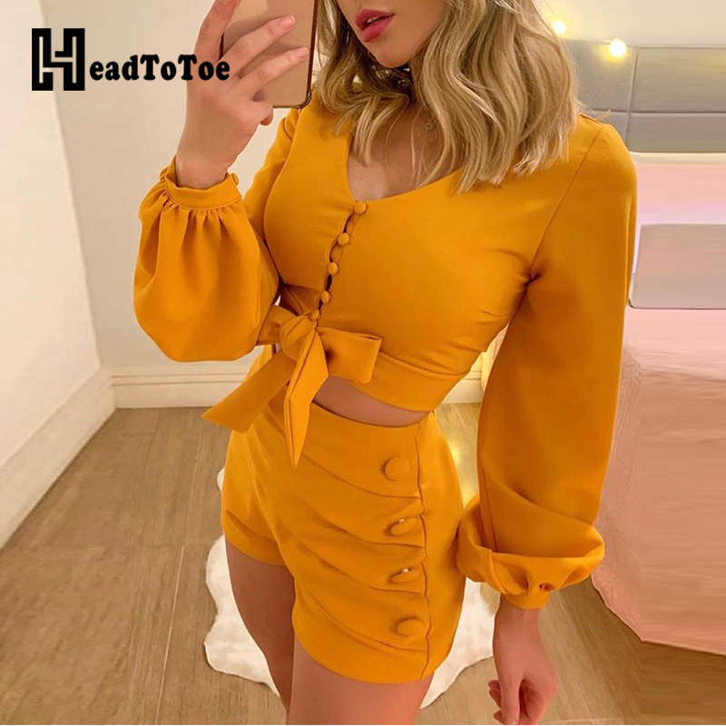 Women Lantern Sleeve Buttoned Tops And Shorts Sets